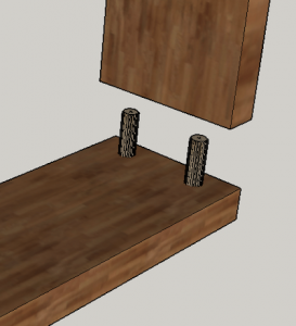 3D image showing woodworking showing butt joint reinforcement dowel