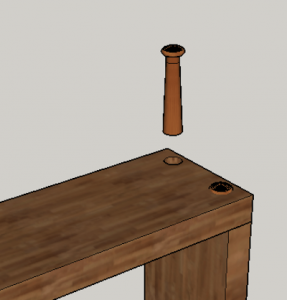 3D image showing woodworking butt joint reinforcement peg
