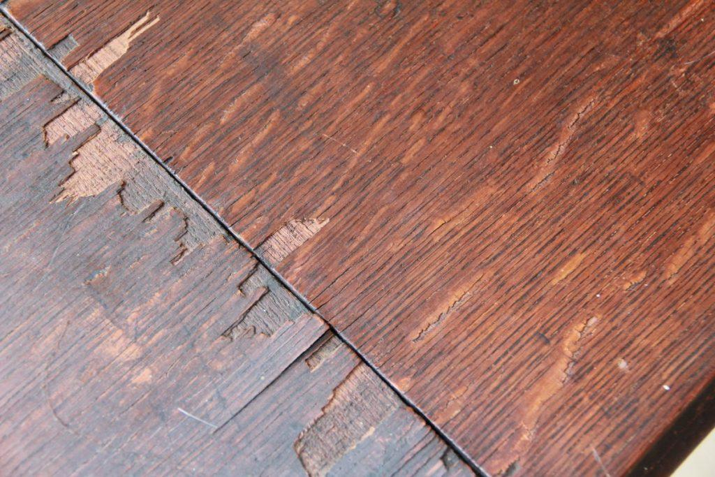 splintered table ends